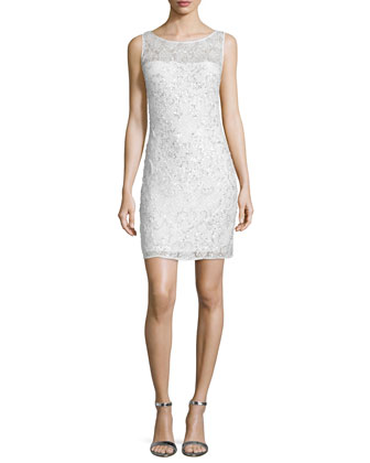 Embellished-Lace Cocktail Dress, Ivory