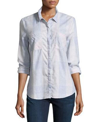 Wildwood Long-Sleeve Plaid Shirt, Pale Pink