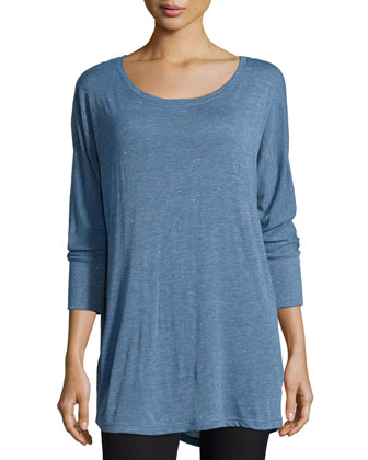 Sparkle 3/4-Sleeve Top, Chambray