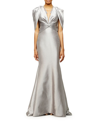 Draped-Shoulder V-Neck Mermaid Gown, Silver