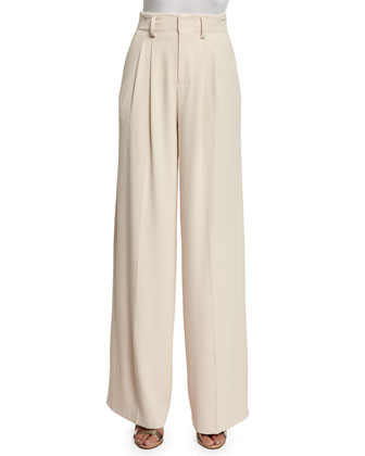 Eloise Straight Wide-Leg Pants, Blush