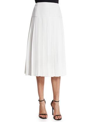 Joann Pleated Midi Skirt, White