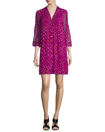 Silk Daisy Buds Shift Dress, Beet