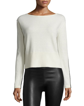 Long-Sleeve Colorblock Sweater, Chalk/Black
