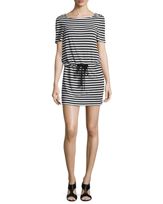 Amal Striped Jersey Dress, Black/White