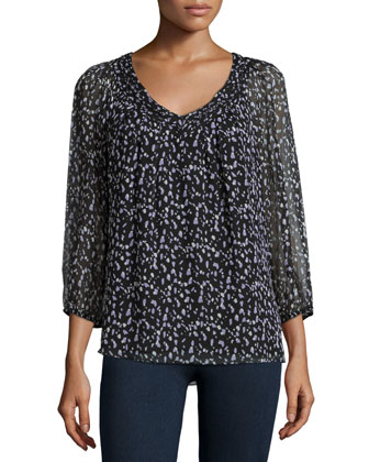 Davi 3/4-Sleeve Silk Animal-Print Blouse