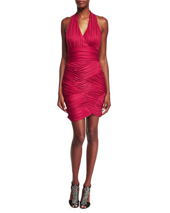 Halter-Neck Ruched Stretch Dress, Raspberry