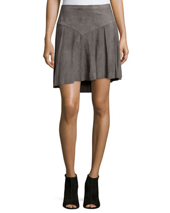 Fit-&-Flare Suede Skirt, Charcoal