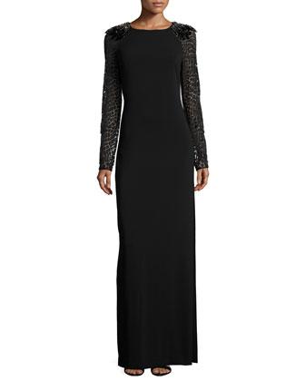 Long-Sleeve Embellished Shoulder Gown, Black/Gunmetal
