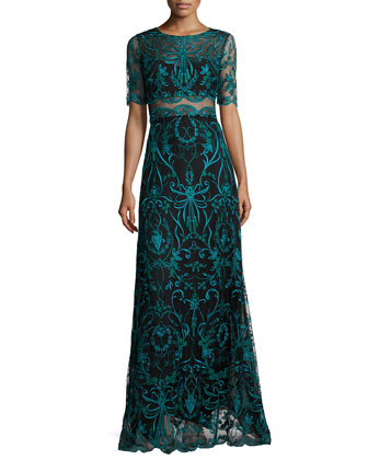 Embroidered Half-Sleeve A-line Gown