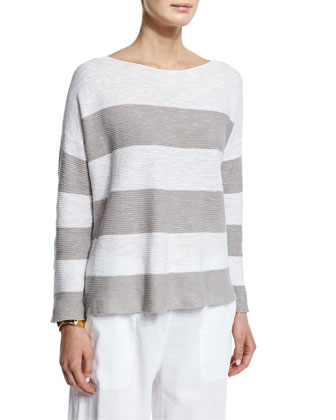 Long-Sleeve Striped Box Top, Women's