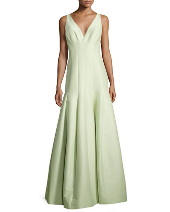 Sleeveless V-Neck Structured Gown, Pistachio