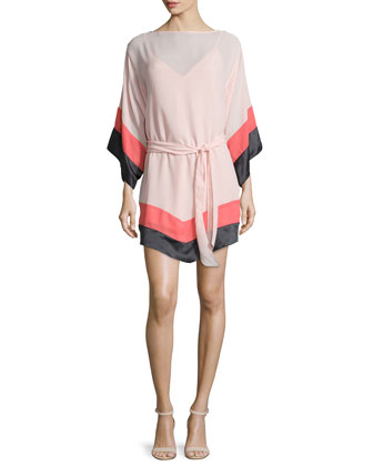 Long-Sleeve Colorblock Caftan, Pink/Charcoal