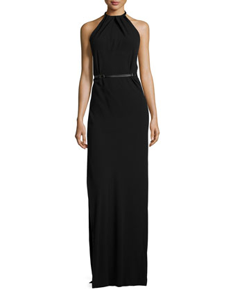 Sleeveless Gathered-Neck Belted Gown, Black