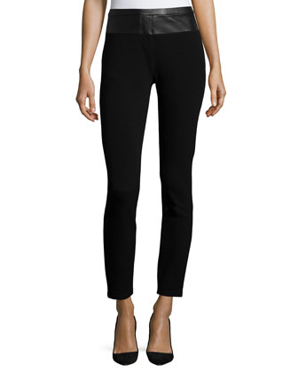 Leather-Waist Skinny Pants, Black