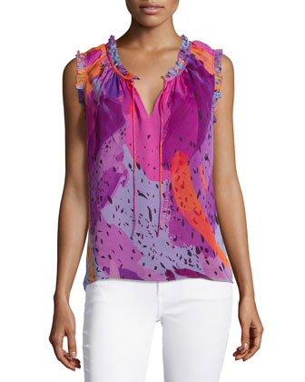 Sleeveless Printed Silk Top, Color Blast Pink