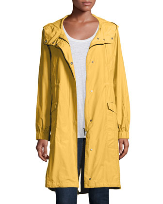 Hooded Long Anorak Jacket, Petite