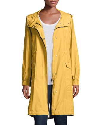 Hooded Long Anorak Jacket, Women's