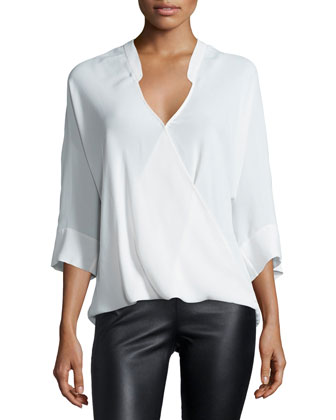 3/4-Sleeve Faux-Wrap Top, Linen White