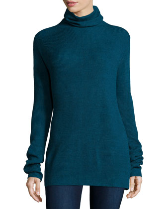 Long-Sleeve Ribbed Turtleneck Top