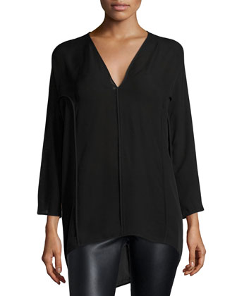 V-Neck Oversized Chiffon Top