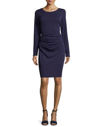 Long-Sleeve Ruched Dress, Eggplant