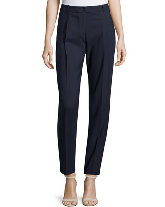 Pleated-Front Slim-Leg Pants, Navy