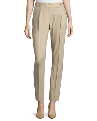 Pleated-Front Slim-Leg Pants, Khaki
