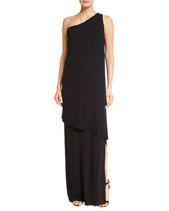 One-Shoulder Tiered Gown, Black