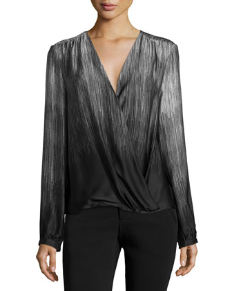 Long-Sleeve Faux-Wrap Blouse, Silver Gray