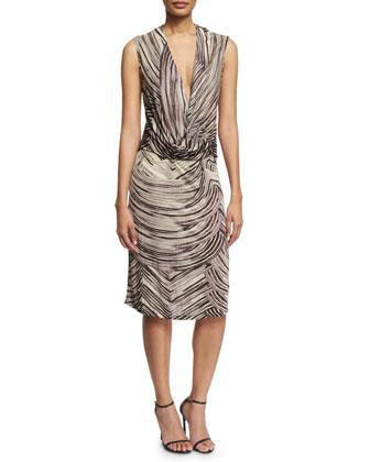 Sleeveless V-Neck Sheath Dress, Lead Geo Print