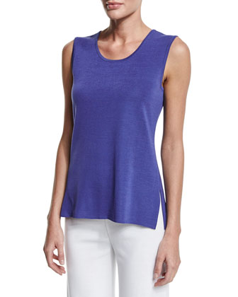 Scoop-Neck Knit Tank, Storm