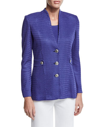 Textured Gold-Button Jacket, Storm, Women's