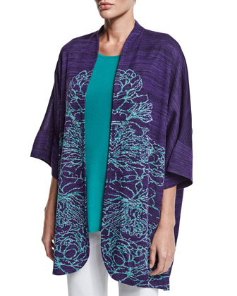 3/4-Sleeve Floral-Print Jacket, Women's