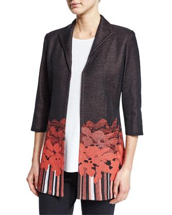 3/4-Sleeve Border-Print Jacket, Women's