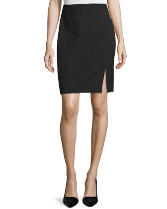 Seamed Pencil Skirt with Front Slit