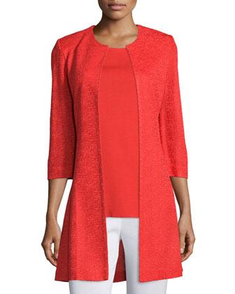3/4-Sleeve Long Textured Jacket, Women's