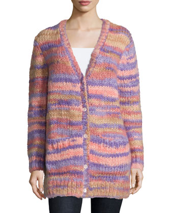 Long-Sleeve Button-Front Cardigan, Wisteria