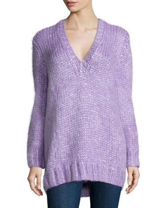 Long-Sleeve V-Neck Sweater, Wisteria