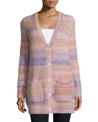 Long-Sleeve Striped Shaker Cardigan, Thistle