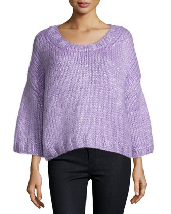 3/4-Sleeve Pullover Sweater, Wisteria