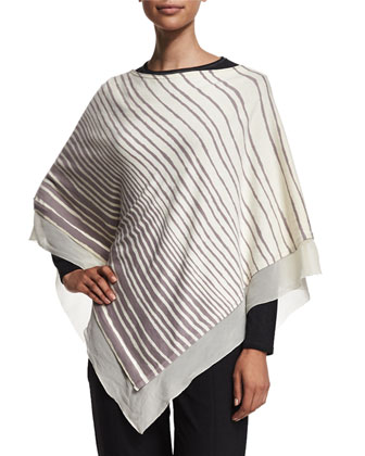 Striped Off-the-Shoulder Poncho