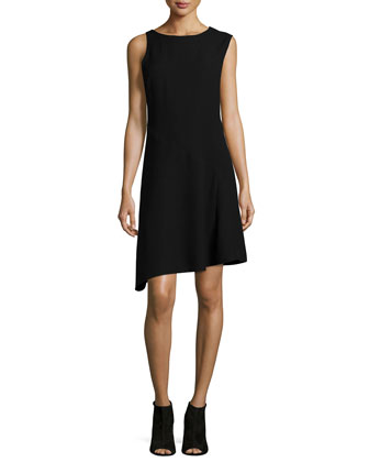 Sleeveless Round-Neck Combo Dress, Black