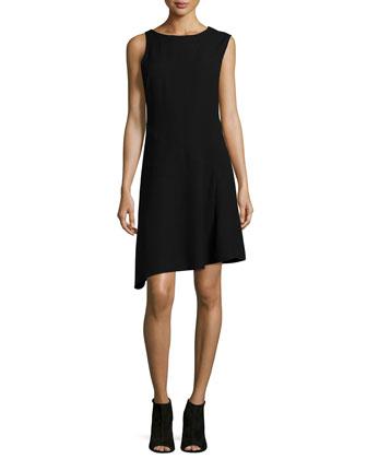 Sleeveless Round-Neck Combo Dress, Black