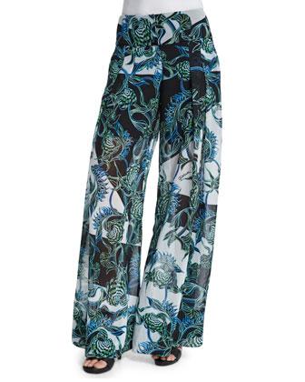 Ikebana Printed Samurai Pants, Multi Colors