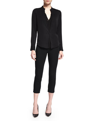 Long-Sleeve One-Button Top, Black
