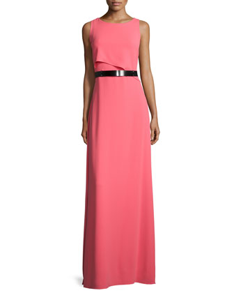 Sleeveless Asymmetric-Flutter Belted Gown, Strawberry