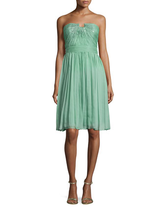 Strapless Chiffon Dress, Meadow