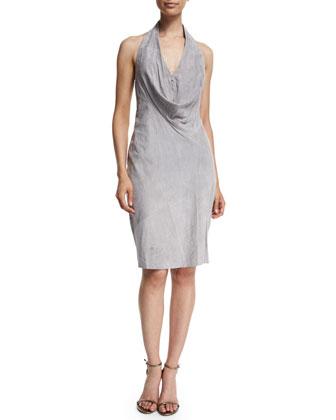 Sleeveless Cowl-Neck Suede Dress