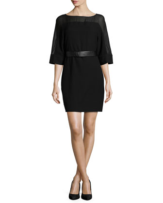 Half-Sleeve Belted Sheath Dress, Black
